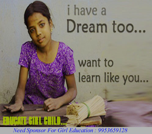 need sponsor for poor girls education, donate money online to poor girls education
